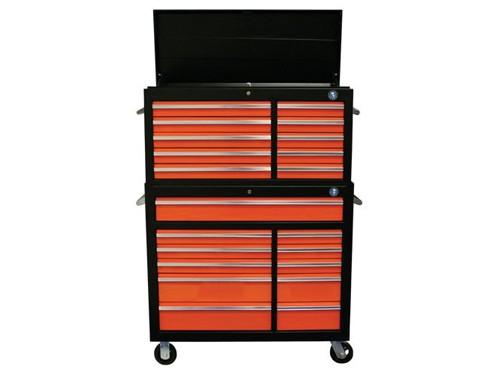 21 Drawer Tool Cabinet Black Orange